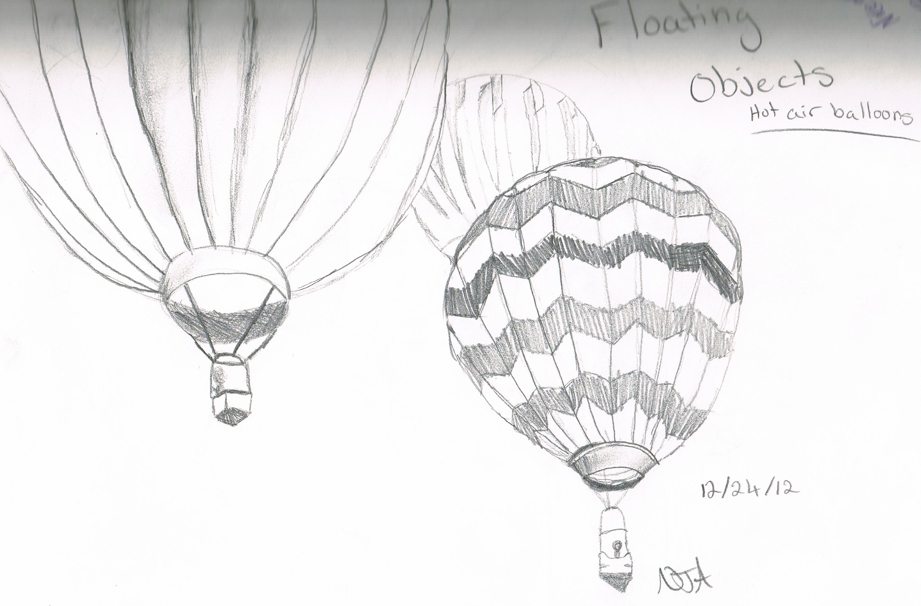 Hot Air Balloons - Pencil Drawing   Air balloon, Drawings ...