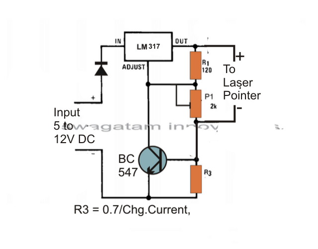 The Post Explains A Simple Laser Pointer Power Supply Circuit Which Has A Precise Voltage And Current Controlled Output Arduino Laser Electronics Circuit Diode