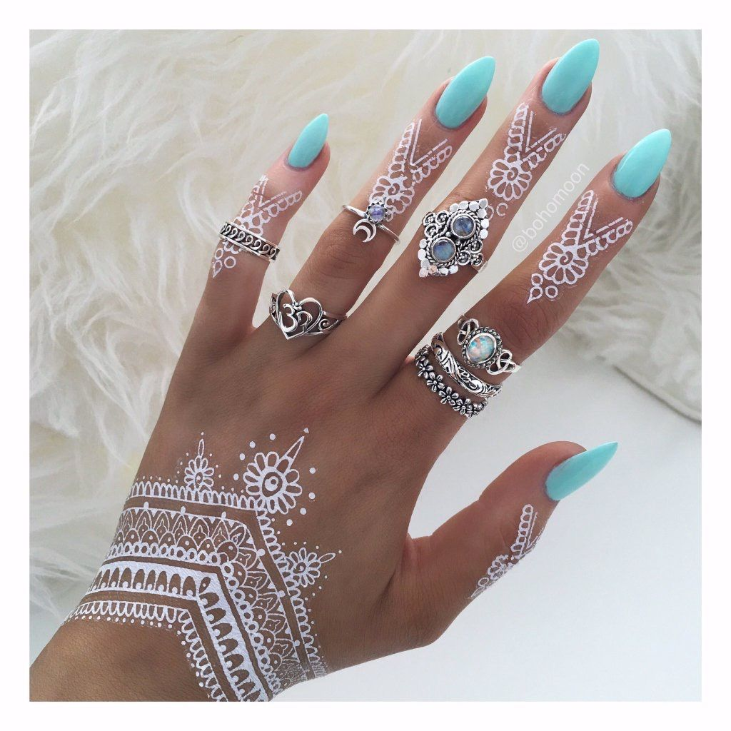 White Henna: Pretty Sky Blue Polish With White Henna