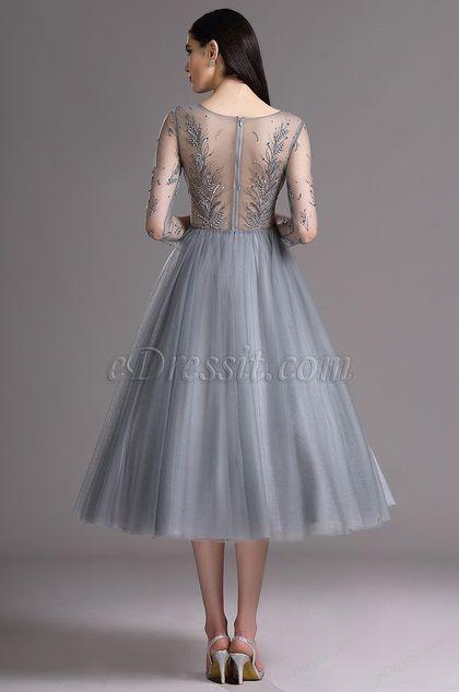 23bf59fd4e eDressit Grey Tea Length Party Cocktail Dress with Embroidery (04162208)