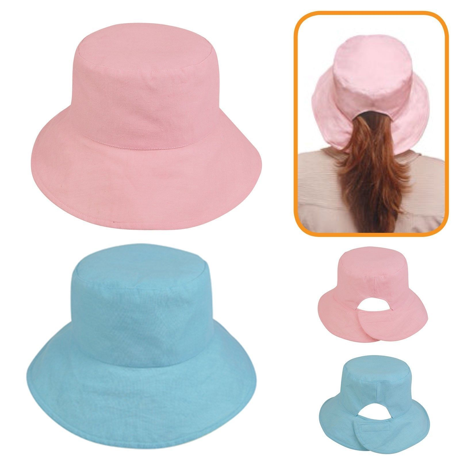 Open Ponytail Pony Tail Bucket Hat Hats Ramie Cotton Reversible Pink Light  Blue 077c64b910cb