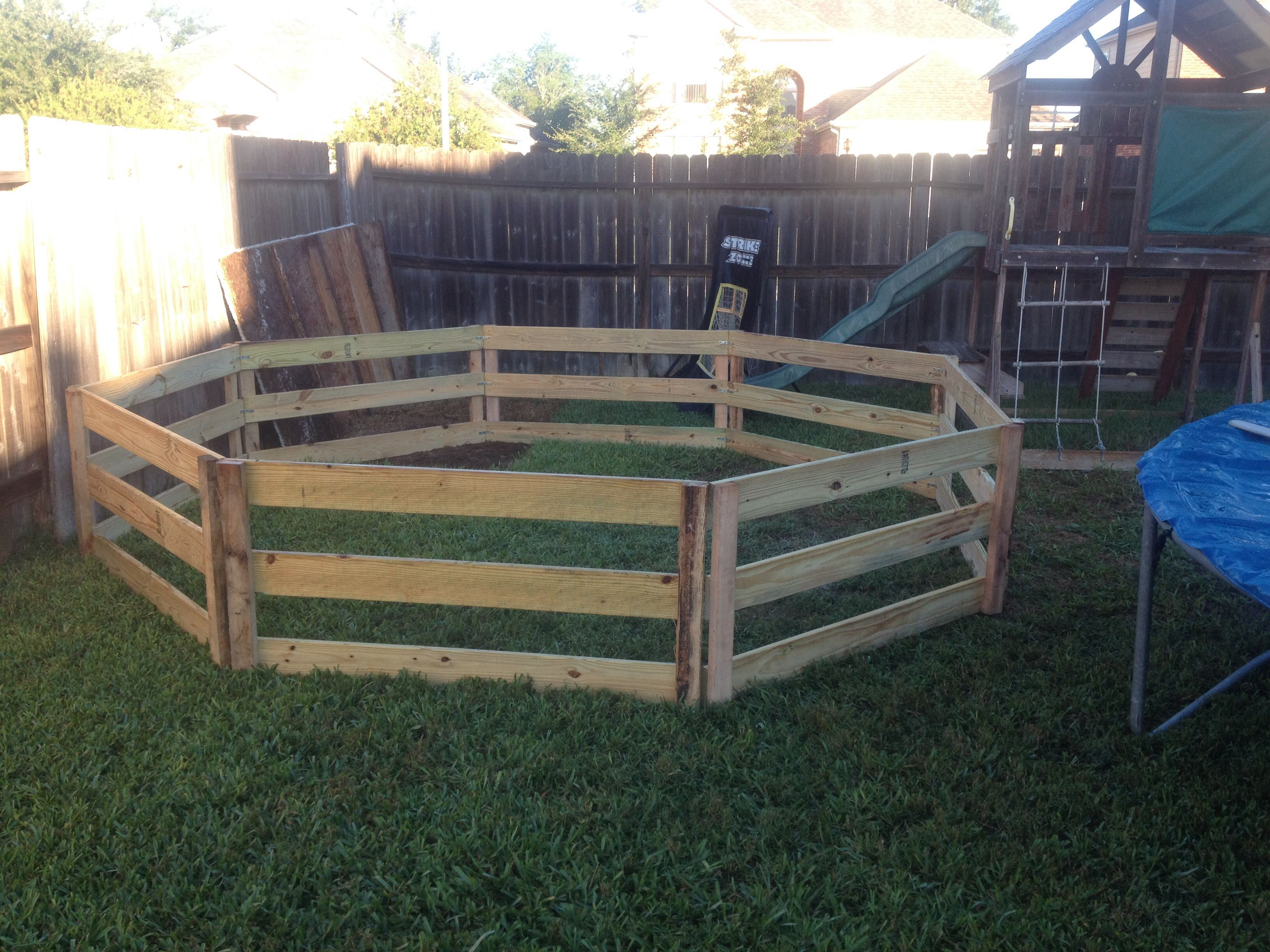 made a gaga pit this weekend for the boys used deck boards and scrap wood - Carpet Ball Table