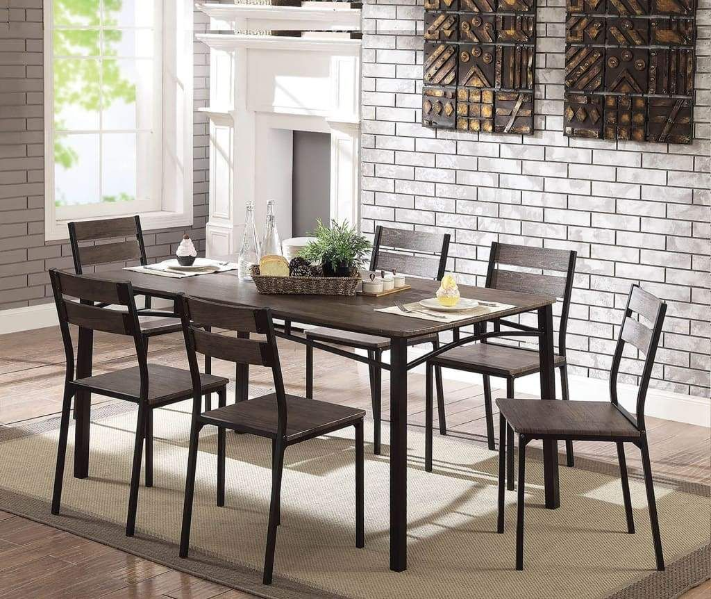 7 Piece Metal And Wood Dining Table Set In Antique Brown By