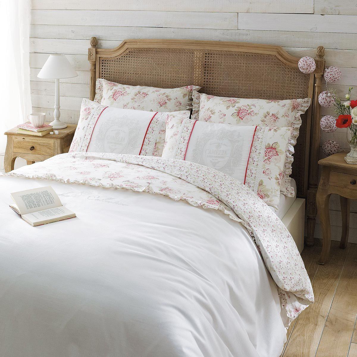 parure housse de couette 260x240 4 taies d 39 oreiller camelia home blessing chambre cosy. Black Bedroom Furniture Sets. Home Design Ideas
