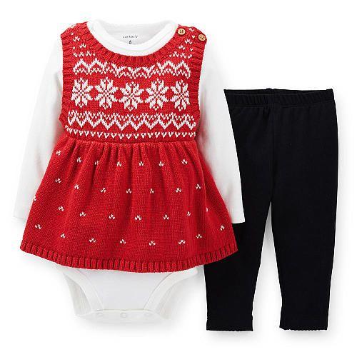 Carter's Girls 3 Piece Ivory Long Sleeve Bodysuit, Red Fair Isle ...
