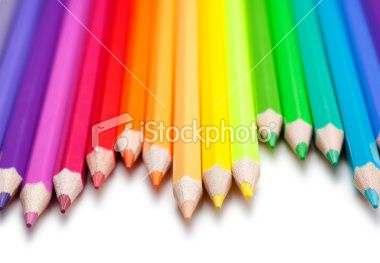 Colored Pencils on White Royalty Free Stock Photo