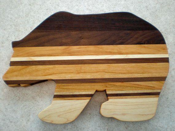 Wooden bear cutting board wooden serving platter by FlipDogDesigns, $35.00