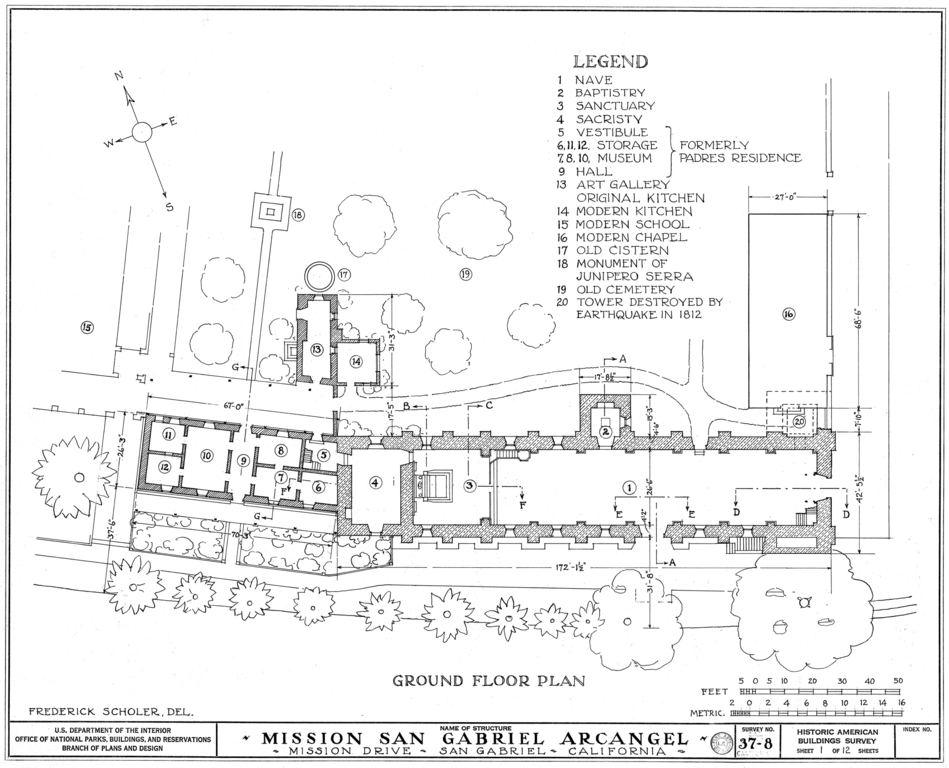 Mission San Gabriel Mission Church Floor Plan Made By The Historical American Building Survey California Missions Online Landscape Design Architect Drawing