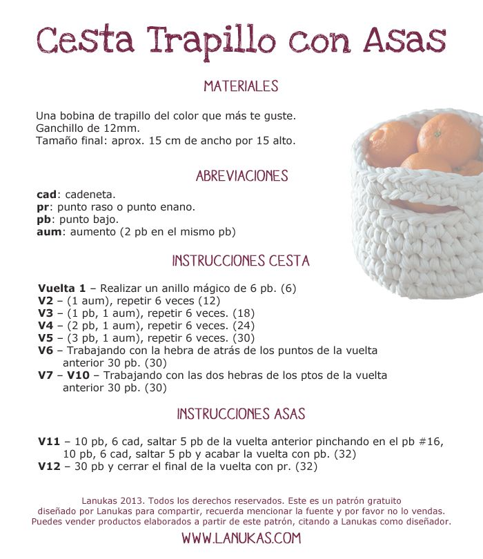 Crochet T-Shirt Yarn Basket - Tutorial (Spanish) ❥ | Crochê 4 ...