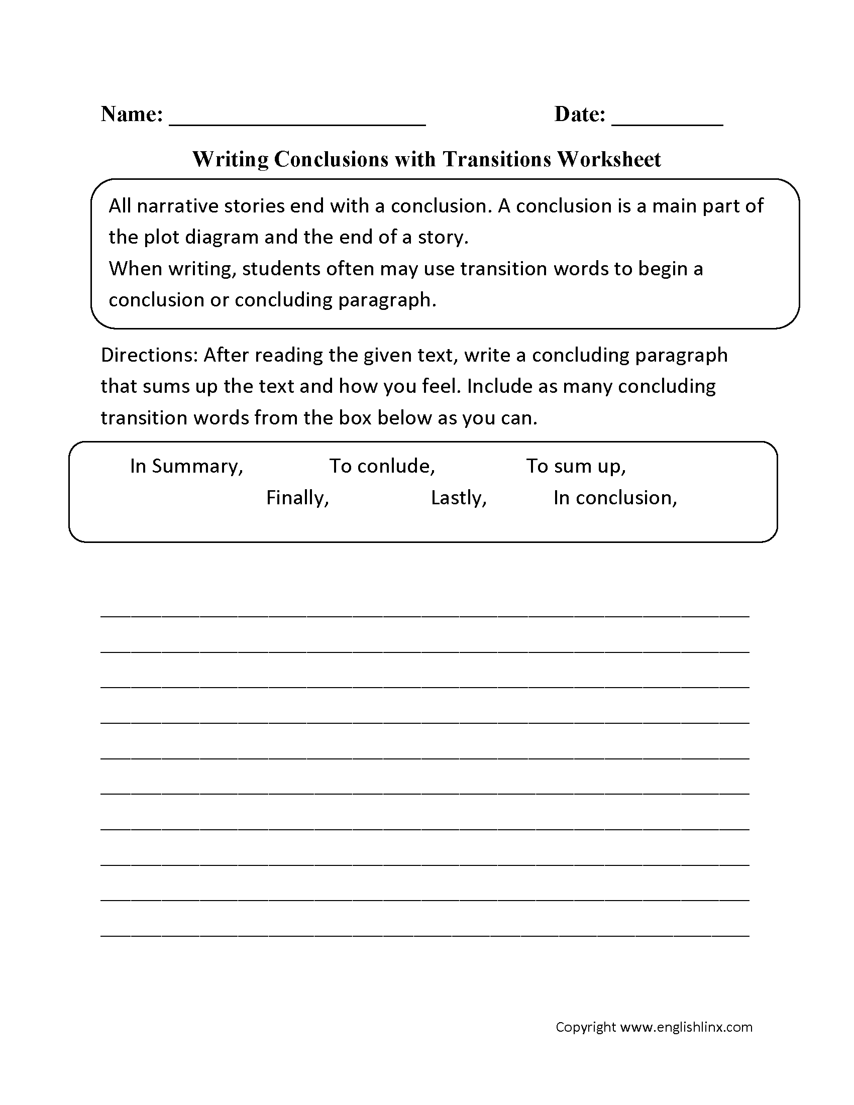 Writing Conclusions with Transitions Worksheets   Reading worksheets [ 2200 x 1700 Pixel ]