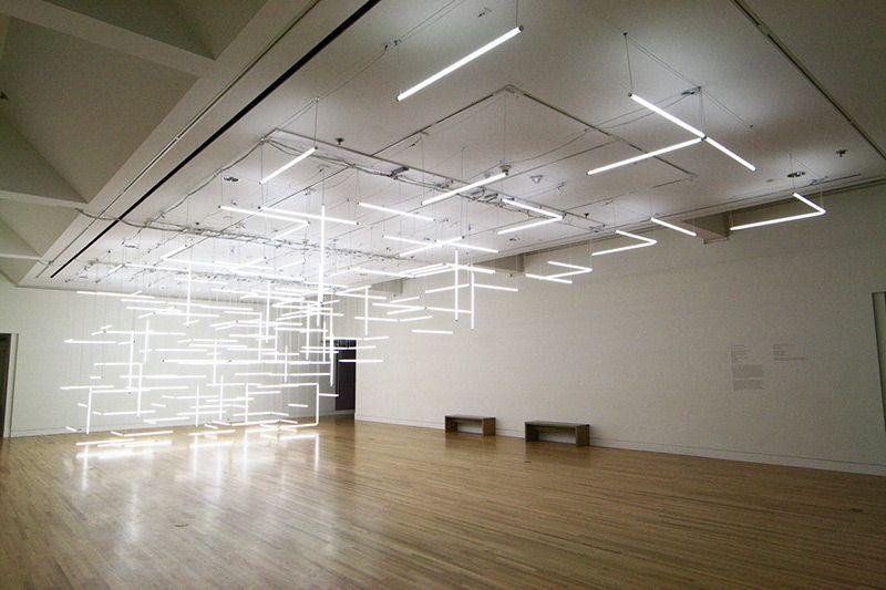A Geometric Labyrinth of 200 Fluorescent Lights at Frye Art Museum #lightartinstallation