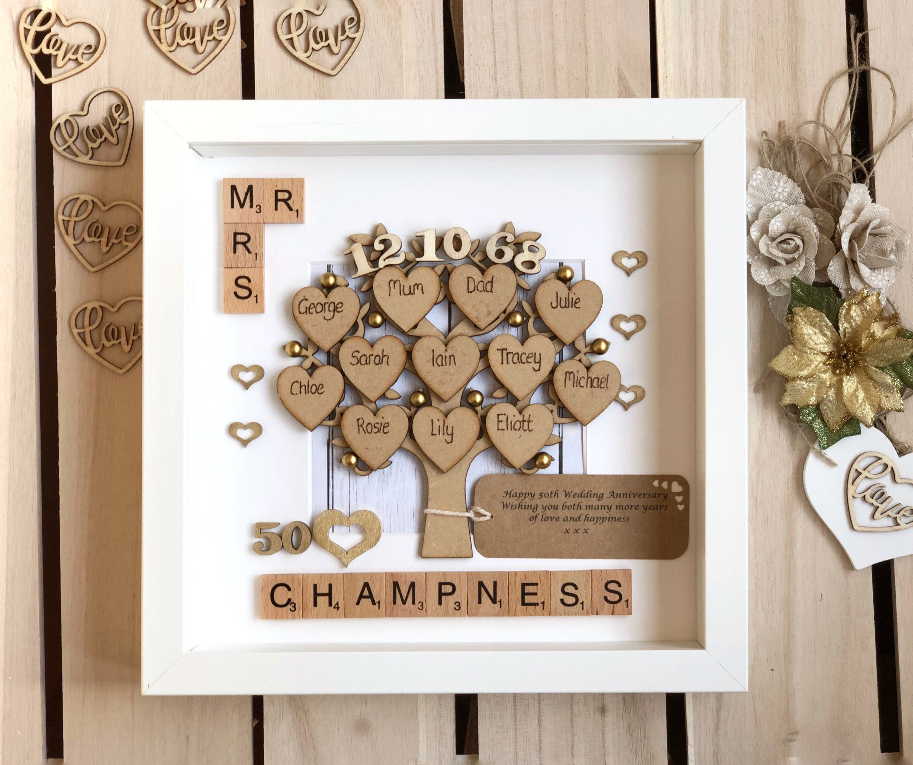 Golden Wedding Anniversary Gift And Family Tree 50th Wedding Etsy Golden Wedding Anniversary Gifts Anniversary Gifts For Parents 50 Wedding Anniversary Gifts