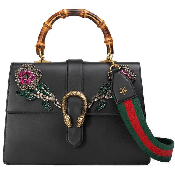 Gucci Dionysus Embroidered Leather Top Handle Bag ($5,200) ❤ liked on Polyvore featuring bags, handbags, shoulder bags, black, shoulder strap bags, structured leather handbags, embroidered purse, gucci and gucci purses