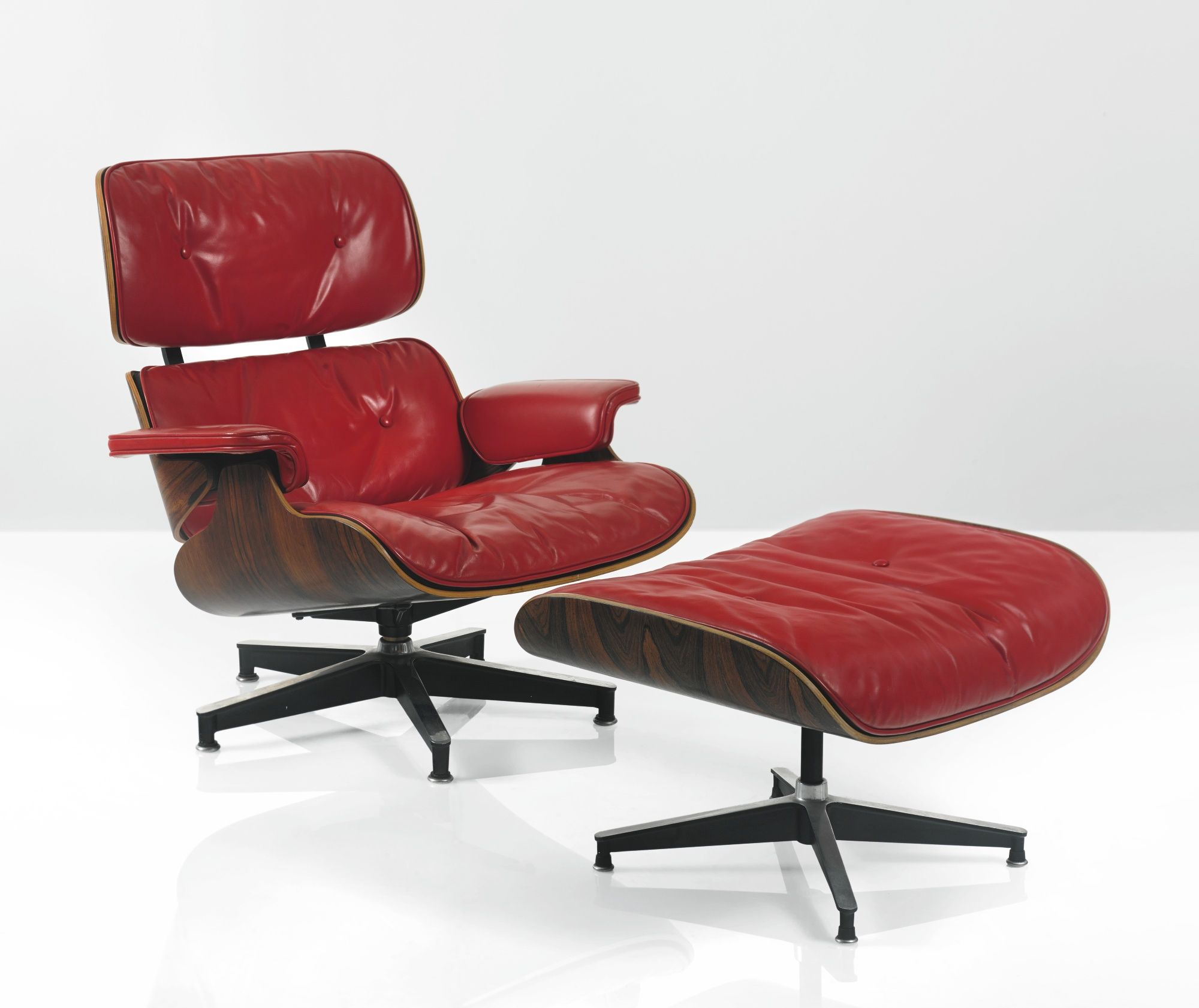 Red Lounge Chair Charles and Ray Eames 1956 Model No 670 and