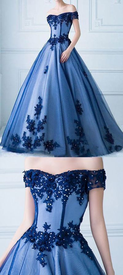 Off The Shoulder Short Sleeves Ball Gown Lace Blue Prom Dress Formal Quinceanera Dresses M7369 #promthings