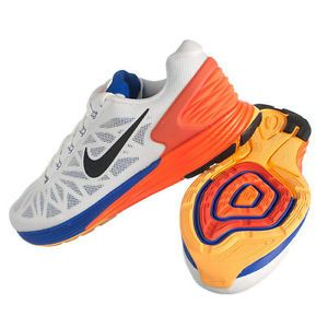 Nike Men Lunarglide 6 Running Shoes White Blue Crimson Sz 14 New
