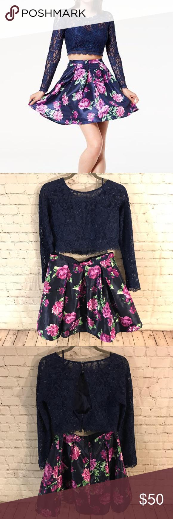 Sequin Hearts 2 Piece Dress Piece Dress Fit Flare Dress Lace Crop Tops