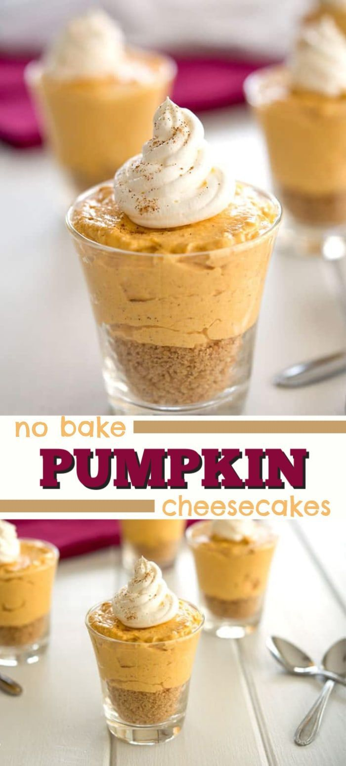No bake mini pumpkin cheesecakes for fall!!