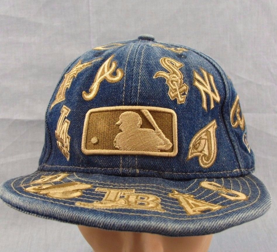 MLB Logos Denim Hat 59 Fifty Fitted Size 7.75 Baseball