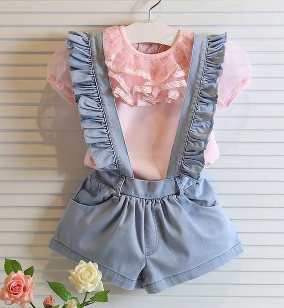 Korean Baby Girls Denim Suspender Pants Children Casual