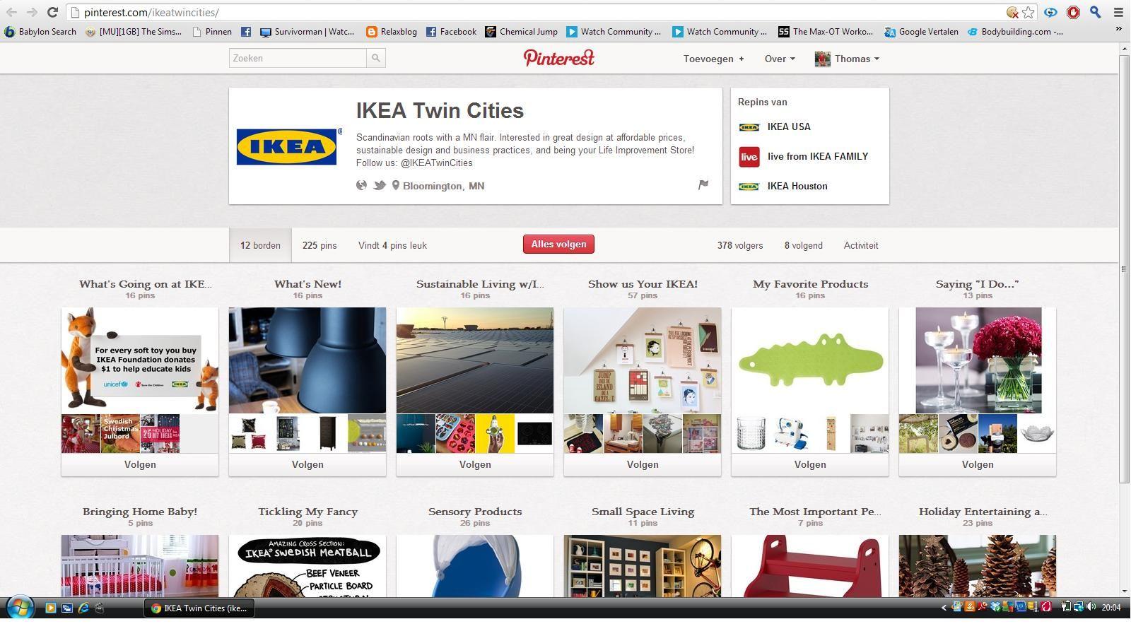 """Ikea maakt van Pinterest handig gebruik om hun producten aan te bieden. Producten die op de site zijn opgenomen worden altijd gepint en komen zo op Pinterest terecht. Ook bepaalde acties worden hier meegedeeld. Zeker tijdens de feestdagen zullen nog veel acties gepint worden in de """"What's going on at IKEA"""" - map"""