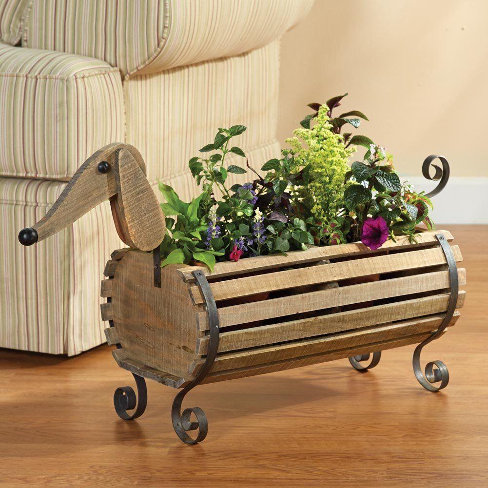 Amazon.com : Wooden Dachshund Flower Planter : Patio, Lawn & Garden