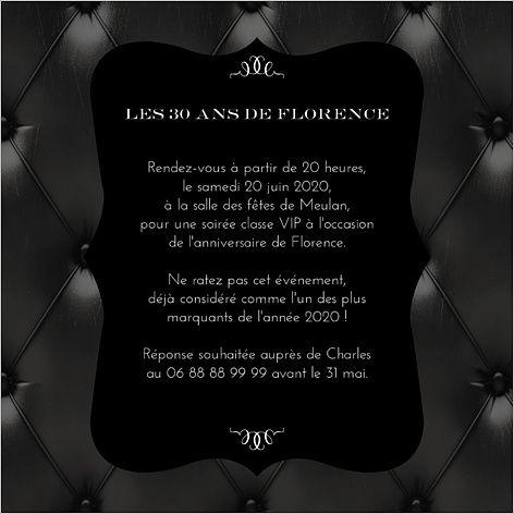 Préférence Carte d'invitation anniversaire : Noir matelassé typographie  OB04