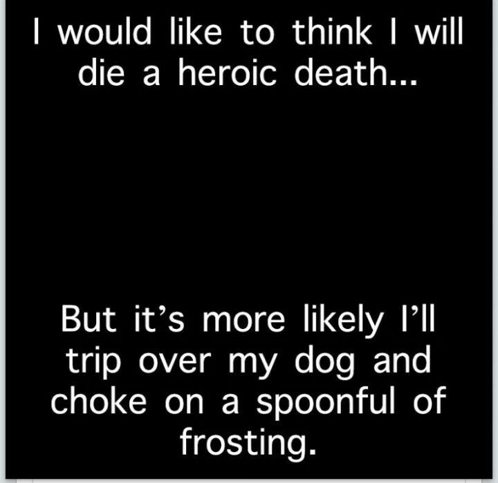 Heroic death- trip over dog funny