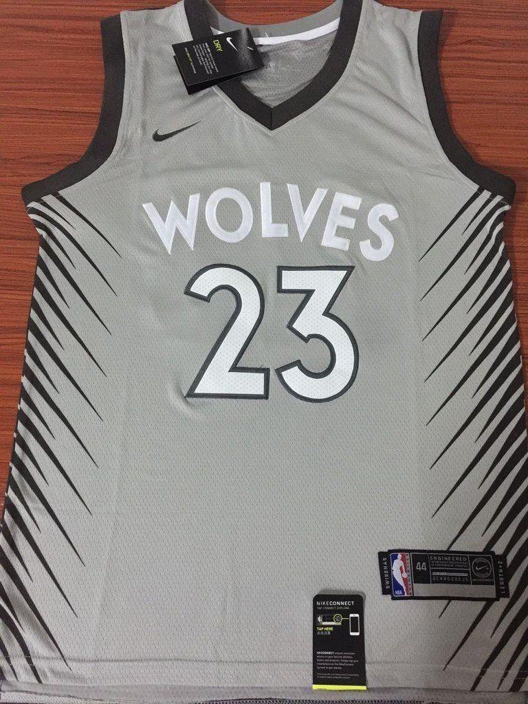 sale retailer 30887 bce26 Men 23 Jimmy Butler City Jersey Gray Minnesota Timberwolves ...