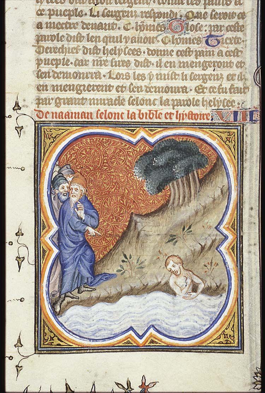 Naaman washes Petrus Comestor, Bible historiale Den Haag, MMW, 10 B ...