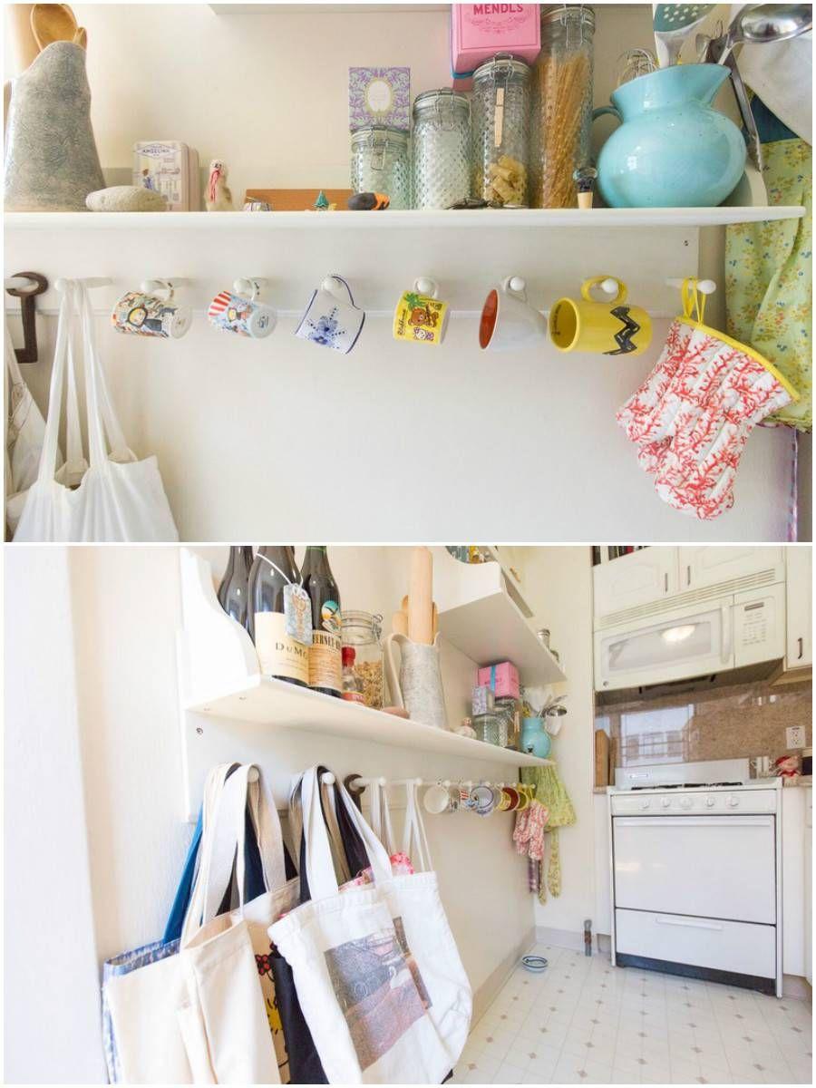 Em um apê de apenas 37 m², a cozinha traz soluções simples para organizar sem esquecer da decoração