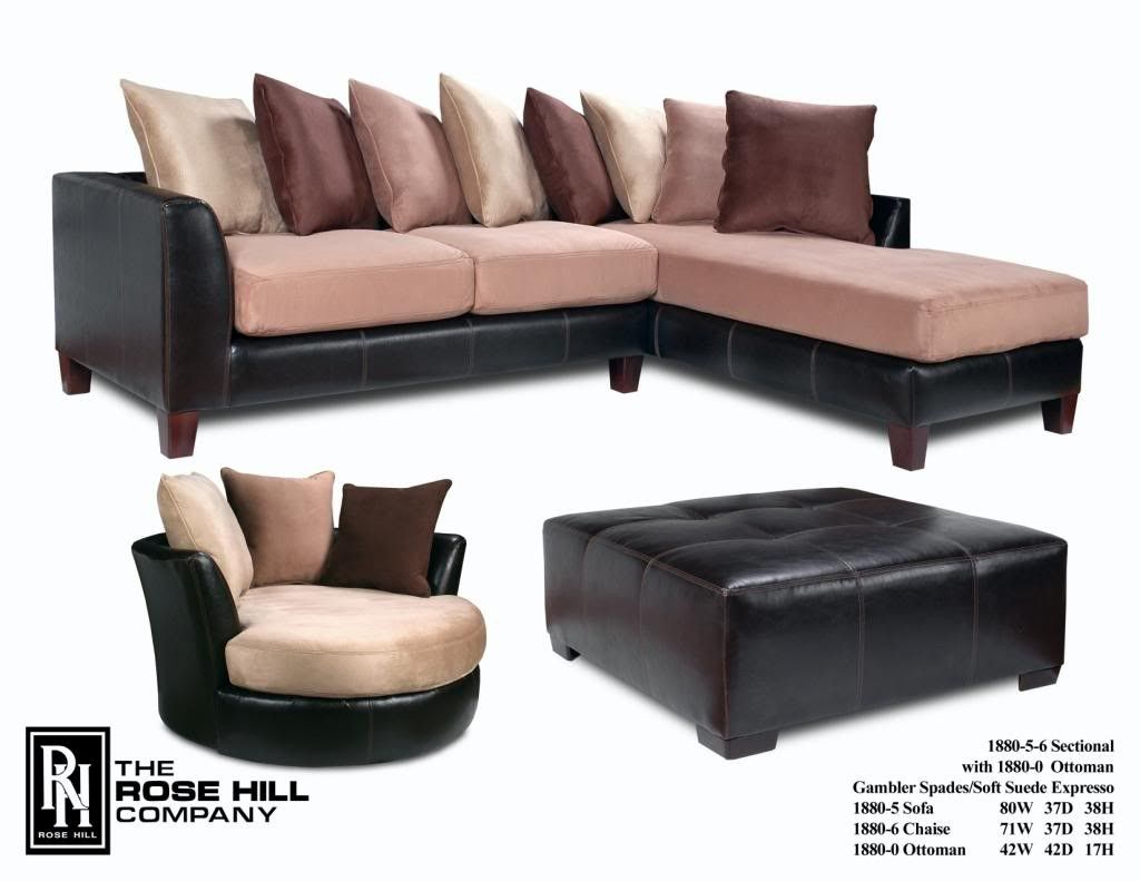 Gambler Spades Soft Suede Espresso Sectional And Chair Set $1499  MANUFACTURED IN The U.S.A. Spades Soft Suede Espresso Sectional (Two Piece:  Left Side And ...