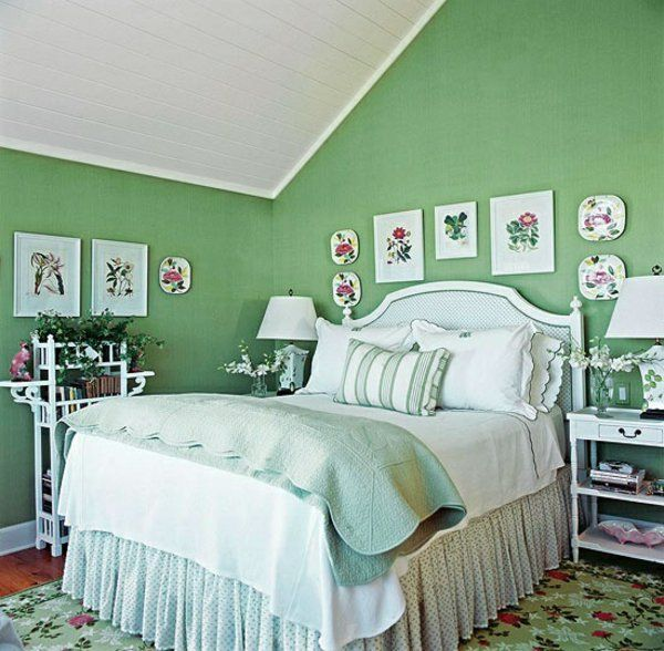 Einrichtungsideen Farbideen Schlafzimmer Dachschräge Grüne Wände