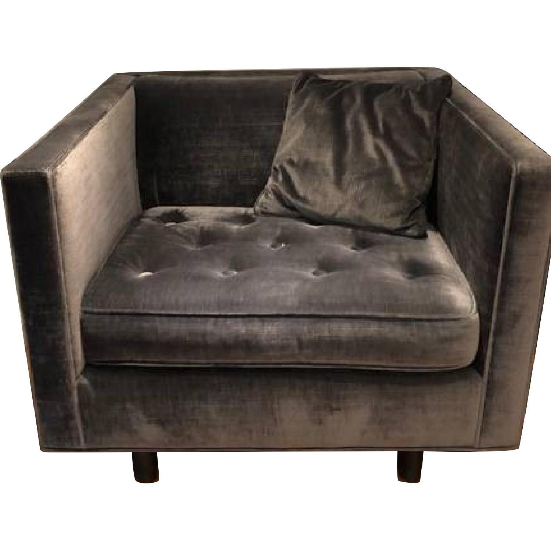 ABC Carpet and Home Grey Velvet Chair AptDeco Velvet