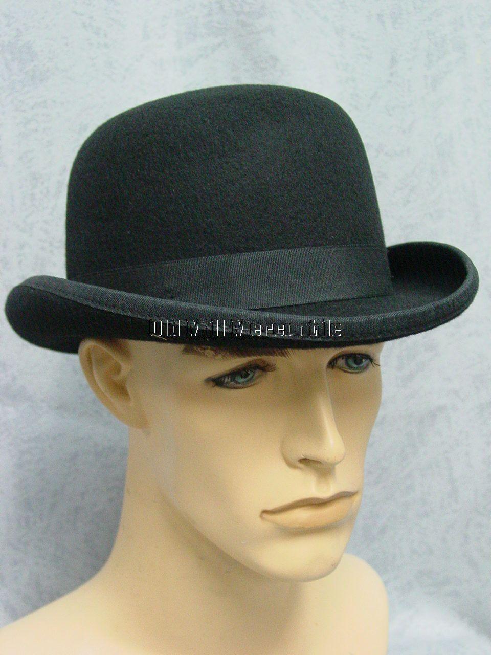 Mens Derby Old West bowler derby hat 100% wool felt quality hat M ... 41e1c8aa1d9