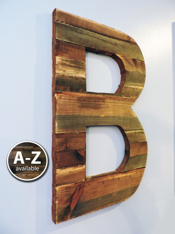 Large Wood Letters Rustic Letter Cutout Custom Wooden Wall Decor Sign Weathered Art