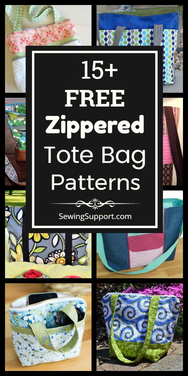 15+ Free Zippered Tote Bag Patterns