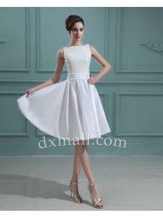 Short Wedding Dresses Bateau Knee Length Taffeta  Ivory 01001100052