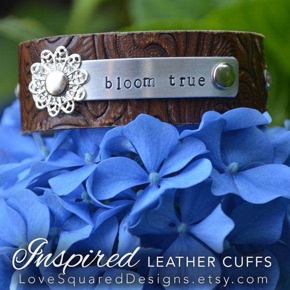 Bloom True leather cuff bracelet by LoveSquaredDesigns, $30.00