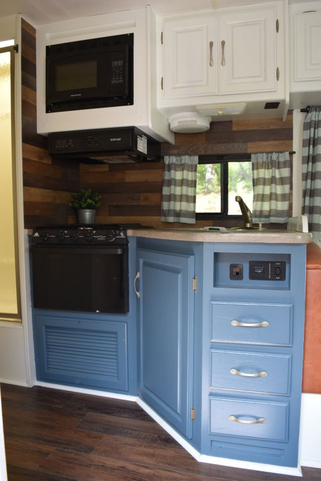 Pallet Style Backsplash In An RV With Vinyl Planks From Inhabit Living    Wandering Arrows Blog