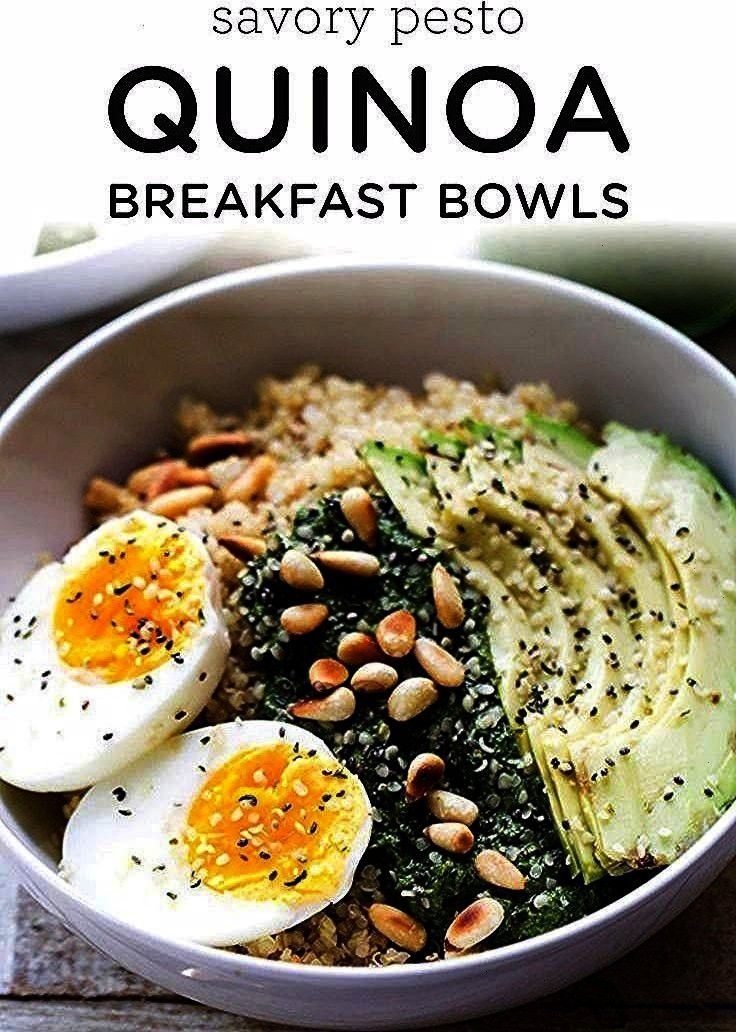 Bowls - This breakfast bowl is packed full of nutritional goodies my friends!Savory Pesto Quinoa Br