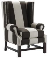 brown and white striped wing chair