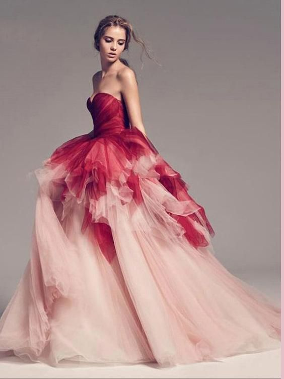 Chic A-line Sweetheart Ombre Prom Dresses Tulle Long Prom Dress Evening Dress AMY2499 – Dress