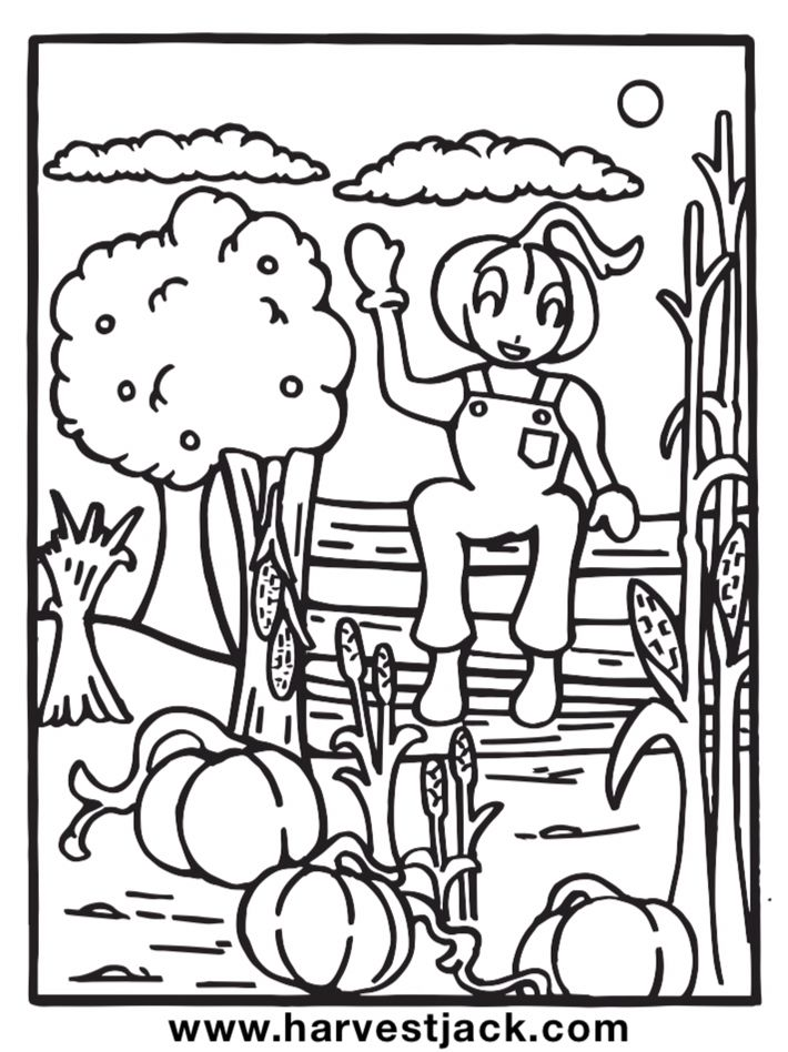 13 fun coloring sheets of Harvest Jack and the Harvest