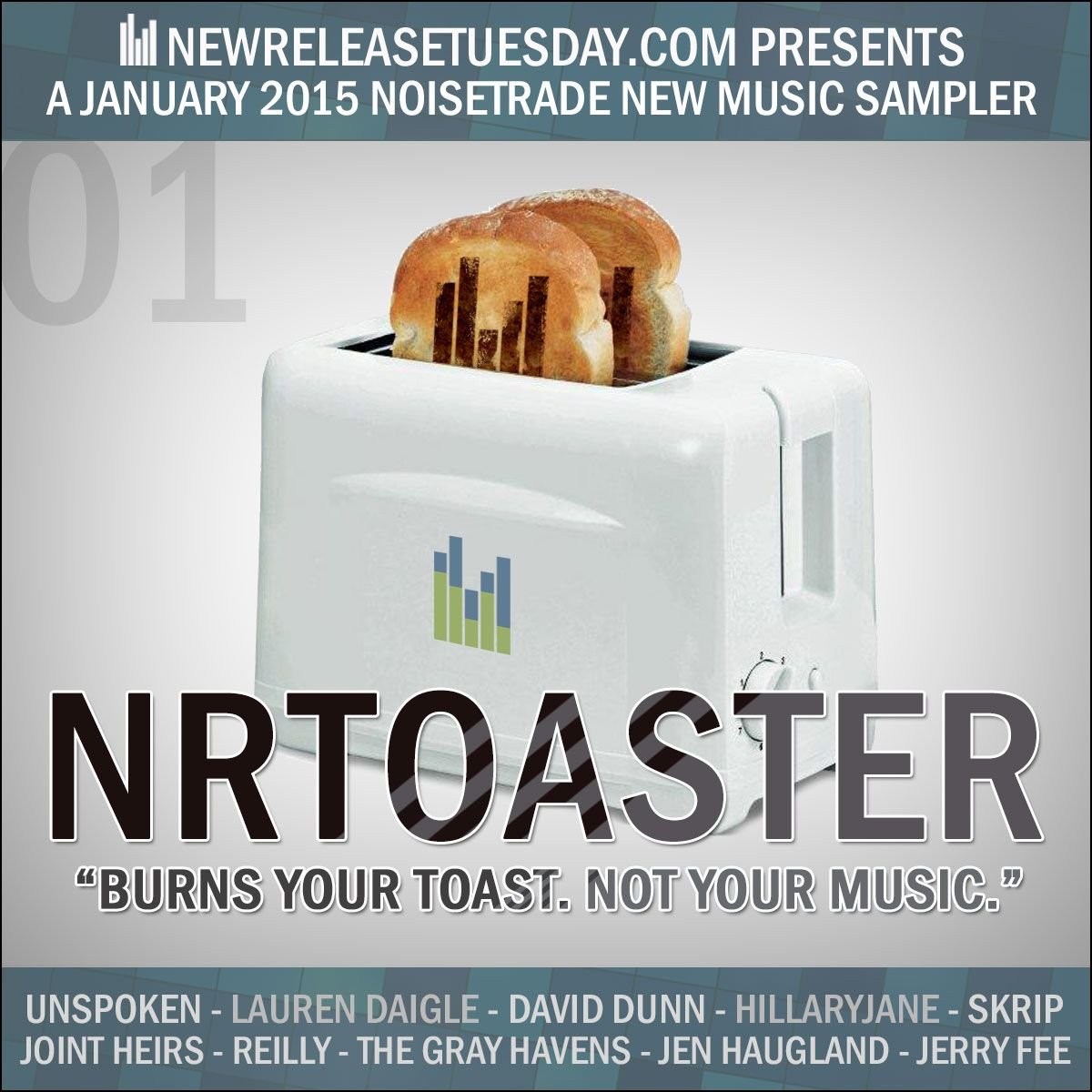 """ALL FREE MUSIC!  NRToaster: A Jan 2015 NoiseTrade Sampler From NewReleaseTuesday.com  My song """"So Hard To Find"""" from my Where I Am album is in the January 2015 NoiseTrade Sampler from New Release Tuesday! Enjoy! - Jen"""