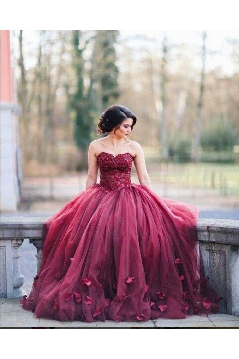 Lace Sweetheart Burgundy Wedding Dresses Bridal Gowns 3030227 ...
