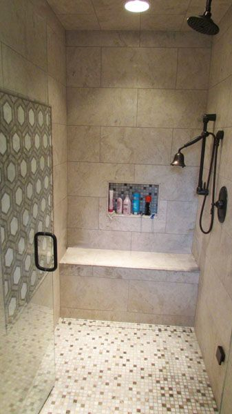 Tiled Shower W Accent Frame Niche Bench And Linear Drain Tile