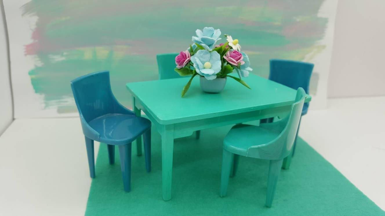 Renwal Table and Plasco Chairs Kitchen Toy Dollhouse Traditional ...