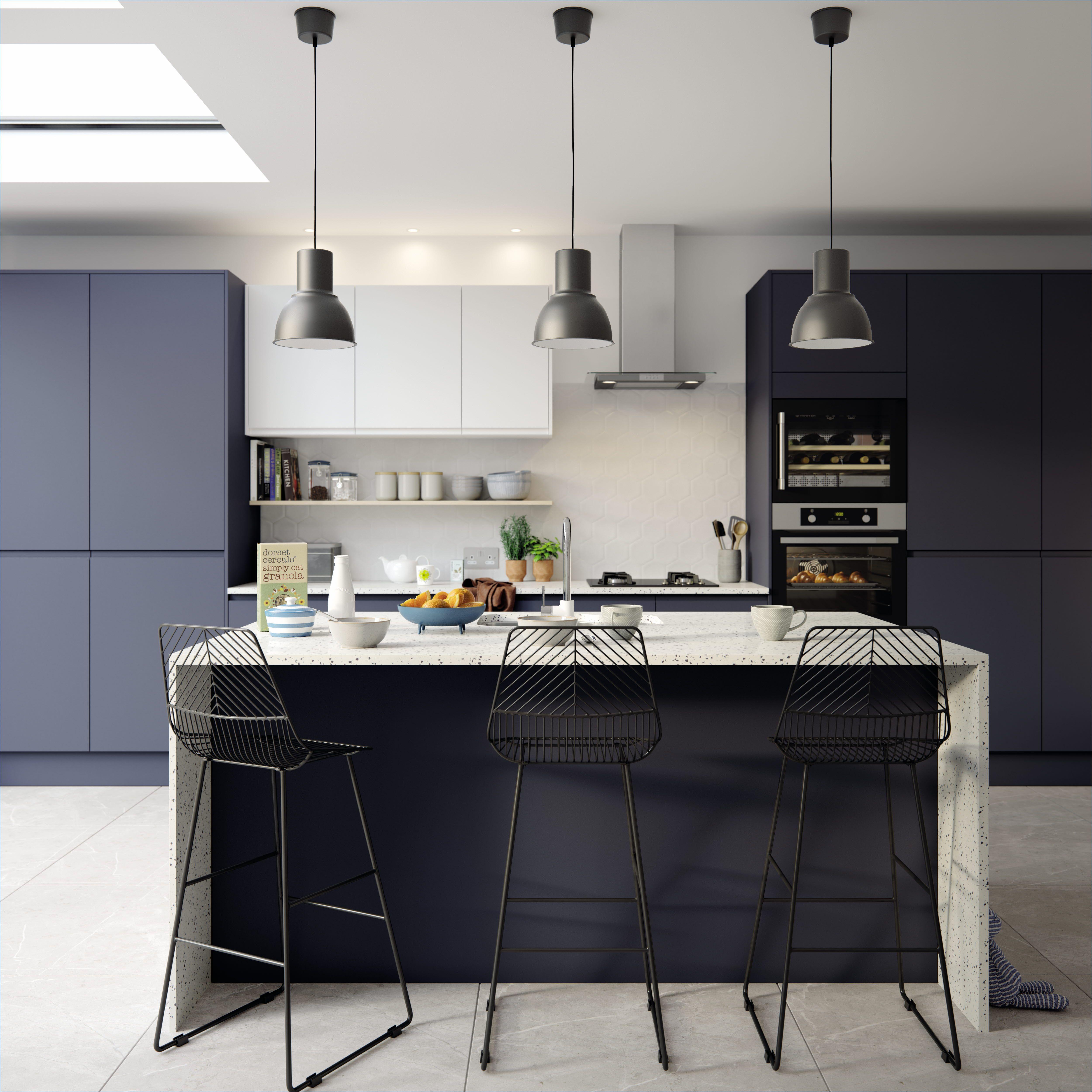Luna Matt Midnight Handleless kitchen, Blue kitchens