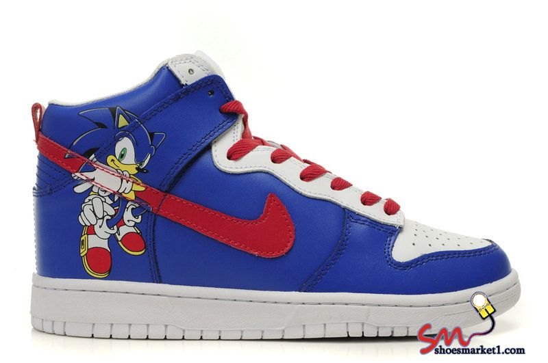Nike Dunk High Tops Sonic The Hedgehog Shoes